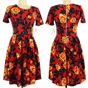 Firey Red Yellow Floral Print Fit flare midi Dress